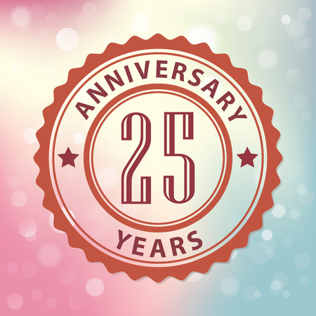 25 Years Anniversary  - Retro style seal, with colorful bokeh background  Vector