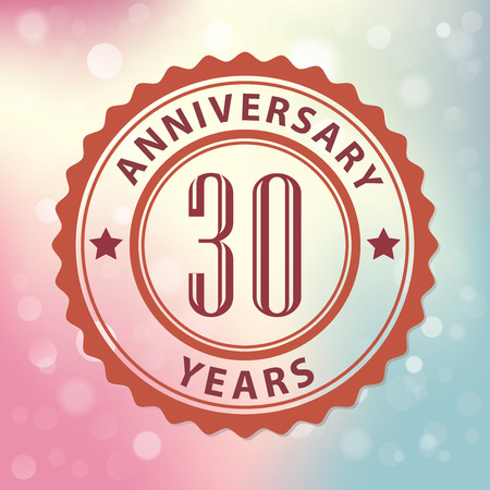 decades:  30 Years Anniversary  - Retro style seal, with colorful bokeh background  Illustration