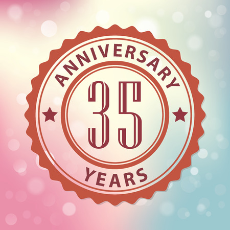 35th:  35 Years Anniversary  - Retro style seal, with colorful bokeh background