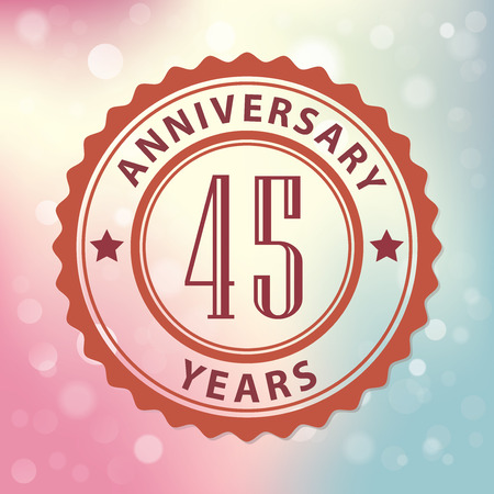 45 Years Anniversary  - Retro style seal, with colorful bokeh background  Vector