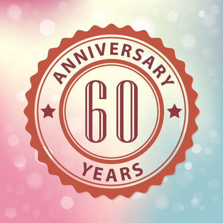 60 years:  60 Years Anniversary  - Retro style seal, with colorful bokeh background EPS 10 vector Illustration