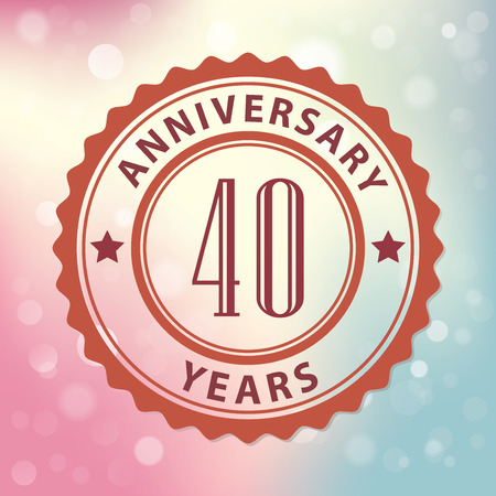 40 years:  40 Years Anniversary  - Retro style seal, with colorful bokeh background