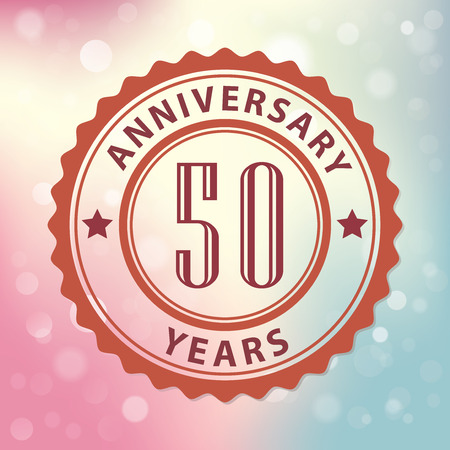 50 years:  50 Years Anniversary  - Retro style seal, with colorful bokeh background  Illustration