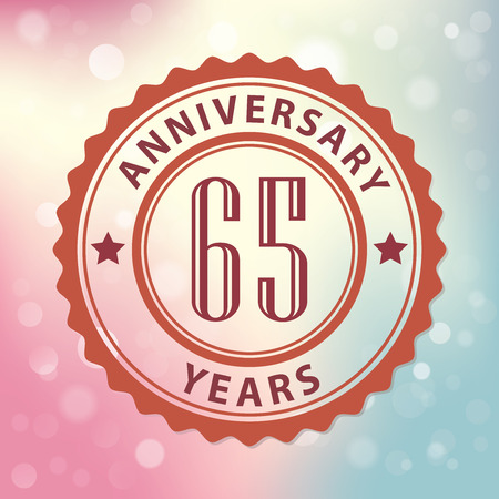 sixty:  65 Years Anniversary  - Retro style seal, with colorful bokeh background