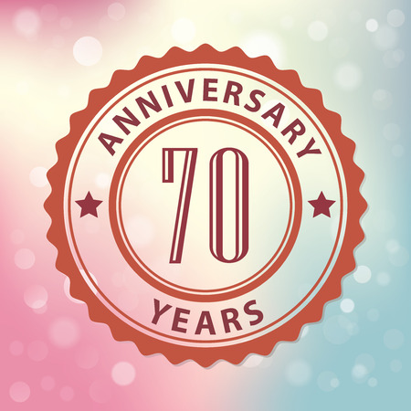 seventieth:  70 Years Anniversary  - Retro style seal, with colorful bokeh background