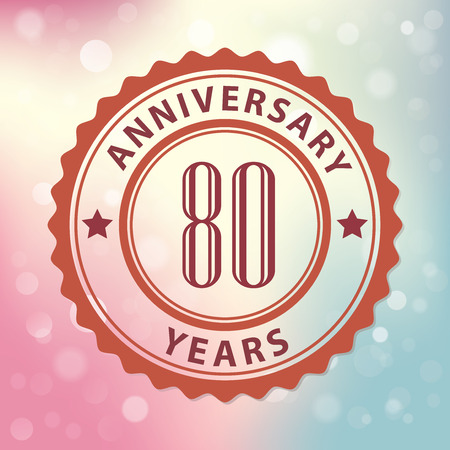 80 years:  80 Years Anniversary  - Retro style seal, with colorful bokeh background