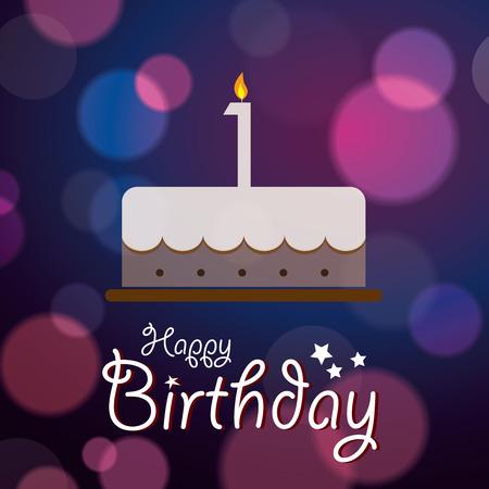 1st birthday: Happy 1st Birthday - Bokeh Vector Background with cake  Illustration