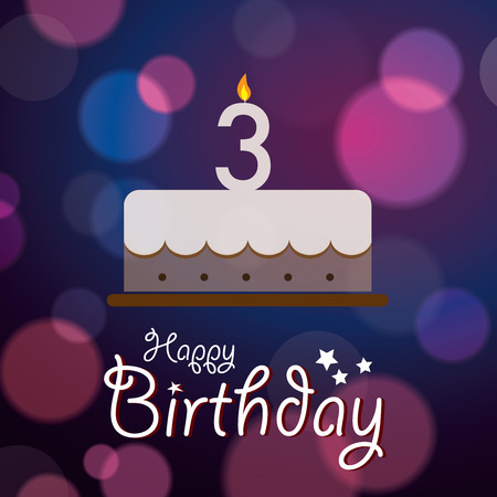 third birthday: Happy 3rd Birthday - Bokeh Vector Background with cake
