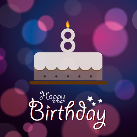 eight year old: Happy 8th Birthday - Bokeh Vector Background with cake