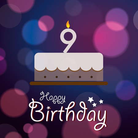 9th: Happy 9th Birthday - Bokeh Vector Background with cake