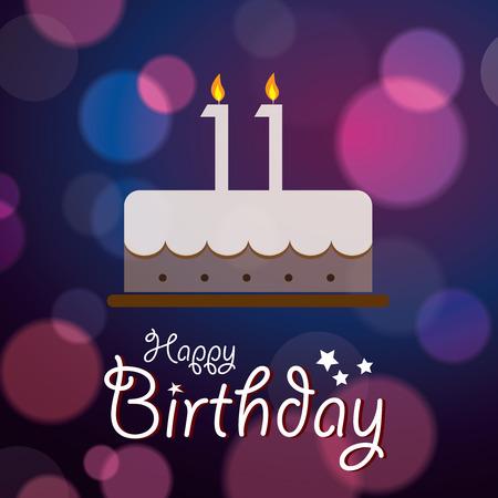 eleventh birthday: Happy 11th Birthday - Bokeh Vector Background with cake  Illustration