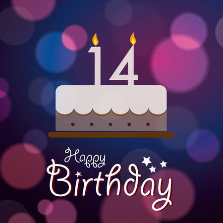 number 14: Happy 14th Birthday - Bokeh Vector Background with cake
