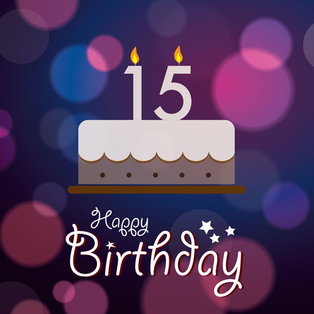 15: Happy 15th Birthday - Bokeh Vector Background with cake