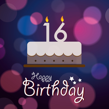 sixteen year old: Happy 16th Birthday - Bokeh Vector Background with cake  Illustration