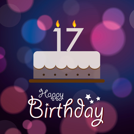 17 year old: Happy 17th Birthday - Bokeh Vector Background with cake