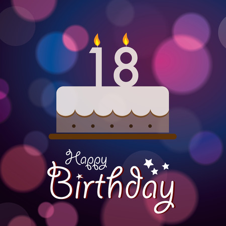 18: Happy 18th Birthday - Bokeh Vector Background with cake