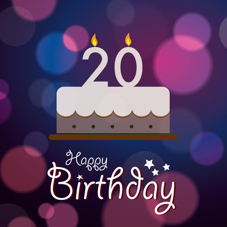 20th: Happy 20th Birthday - Bokeh Vector Background with cake