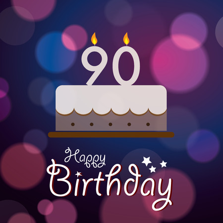 90: Happy 90th Birthday - Bokeh Vector Background with cake