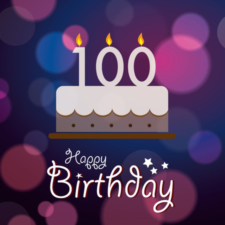 one year old: Happy 100th Birthday - Bokeh Vector Background with cake  Illustration
