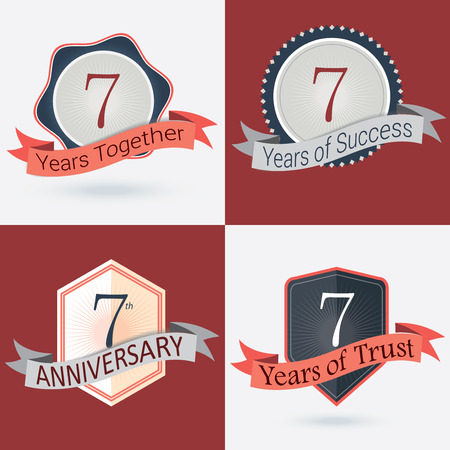incorporation: 7th Anniversary   7 years together   7 years of Success   7 years of trust - Set of Retro vector Stamps and Seal