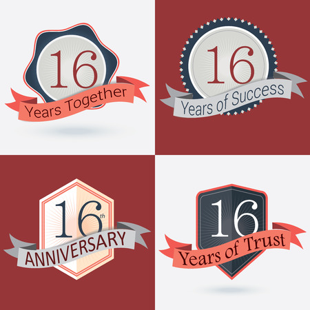 16: 16th Anniversary   16 years together   16 years of Success   16 years of trust - Set of Retro vector Stamps and Seal