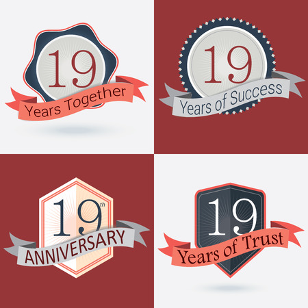 incorporation: 19th Anniversary   19 years together   19 years of Success   19 years of trust - Set of Retro vector Stamps and Seal Illustration