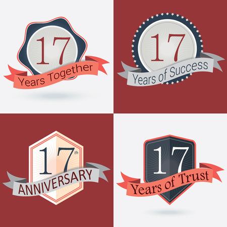 17: 17mo Aniversario 17 a�os a 17 a�os de �xito de 17 a�os de confianza - Juego de sellos de vector retro y Seal