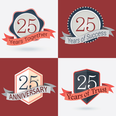 25th: 25th Anniversary   25 years together   25 years of Success   25 years of trust - Set of Retro vector Stamps and Seal