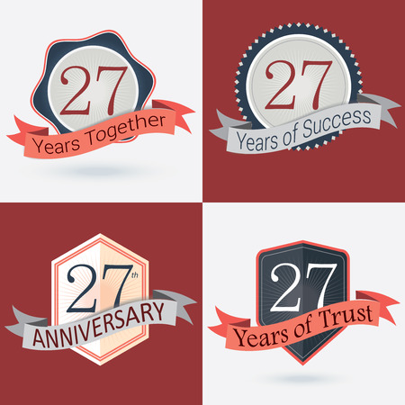 20 years: 27th Anniversary   27 years together   27 years of Success   27 years of trust - Set of Retro vector Stamps and Seal