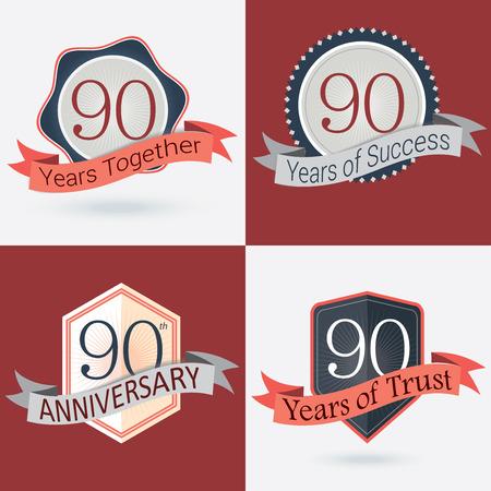 90 years: 90 � Anniversario 90 anni insieme 90 anni di successo 90 anni di fiducia - Insieme di retro Francobolli vettoriali e Seal