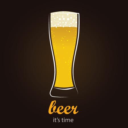 minimalista: Frissítő sör Pilsner pohár - Stílusos, minimalista vektor háttér Illusztráció