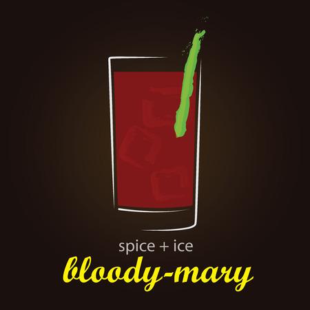Bloody Mary - Classic Cocktail   Stylish and minimalist vector background Ilustração