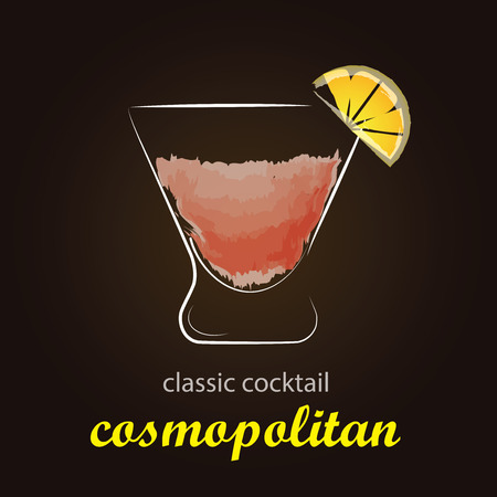 cosmopolitan: Cosmopolitan Cocktail in authentic glass - Stylish and minimalist vector background