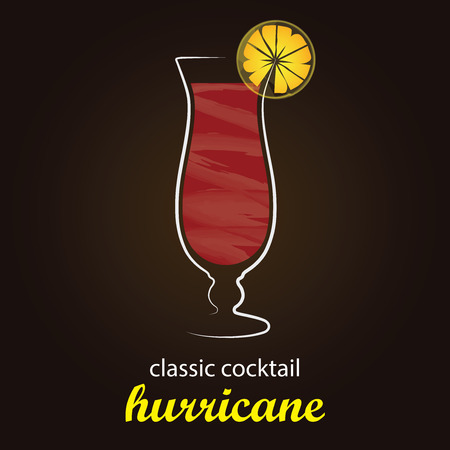 Classic Hurricane Cocktail in authentic Hurricane glass - Stylish and minimalist vector background