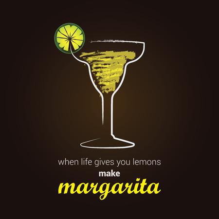 margarita cocktail: Margarita Cocktail - Elegante illustrazione con il messaggio di pensiero positivo Vettoriali
