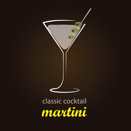 mezcla de frutas: Martini - C�ctel cl�sico fondo elegante y minimalista vector