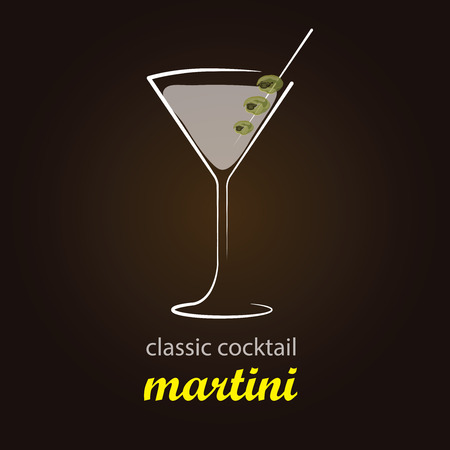 Martini - Classic Cocktail   Stylish and minimalist vector background