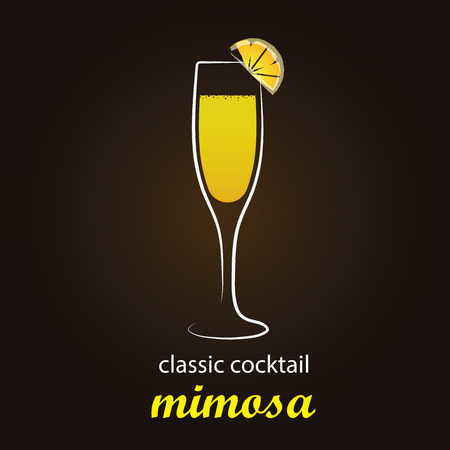 mixed drink: Mimosa Cocktail in authentic Flute glass - Stylish and minimalist vector background