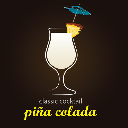 garnishing: Pina Colada in authentic Poco Grande glass - Classic Cocktail - Stylish and minimalist vector background