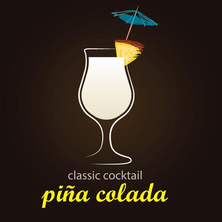 colada: Pina Colada in authentic Poco Grande glass - Classic Cocktail - Stylish and minimalist vector background