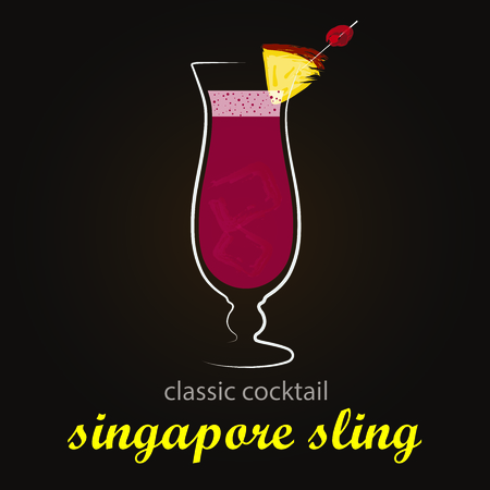 sling: Singapore Sling - Classic Cocktail   Stylish and minimalist vector background