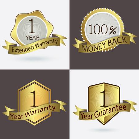 estendido: 1 ano de Garantia Garantia Garantia estendida 100 Cash Back Ilustração