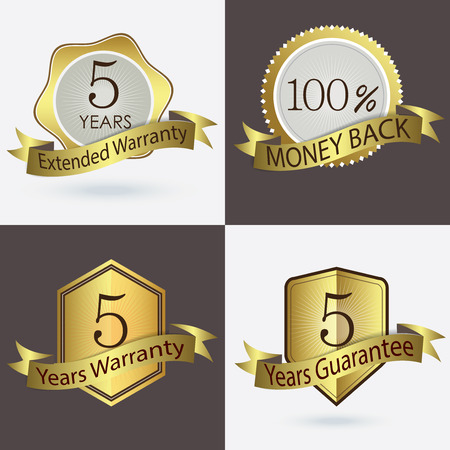 5 years Warranty Extended Warranty Guarantee 100 Cash Back Vector Illustration