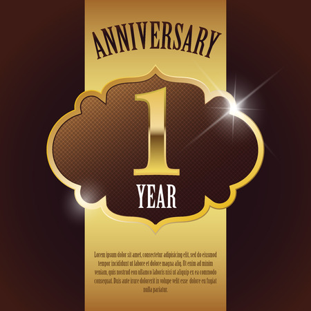 1 year anniversary:  1 Year Anniversary  - Elegant Golden Design Template   Background   Seal Illustration