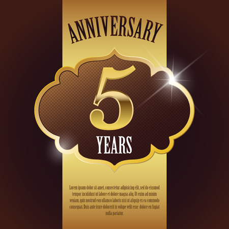 5 Year Anniversary  - Elegant Golden Design Template   Background   Seal Vector