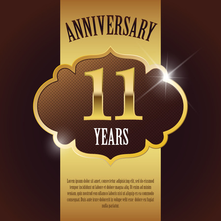 eleventh:  11 Year Anniversary  - Elegant Golden Design Template   Background   Seal Illustration