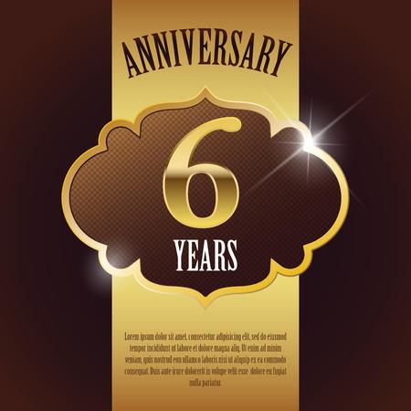 6 Year Anniversary  - Elegant Golden Design Template   Background   Seal Vector