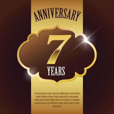 7 Year Anniversary  - Elegant Golden Design Template   Background   Seal Ilustração