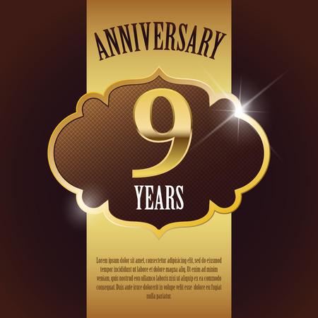 9th:  9 Year Anniversary  - Elegant Golden Design Template   Background   Seal