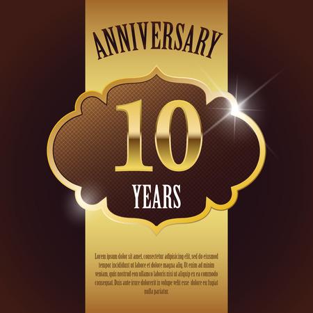 10 周年記念-エレガントな黄金のデザイン テンプレートの背景シール  イラスト・ベクター素材